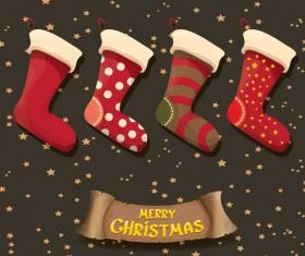 Cartoon christmas socks with retro xmas banner vector 07