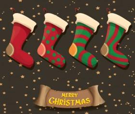 Cartoon christmas socks with retro xmas banner vector 08