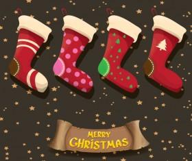 Cartoon christmas socks with retro xmas banner vector 09
