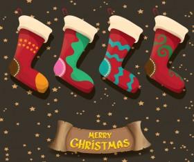 Cartoon christmas socks with retro xmas banner vector 10