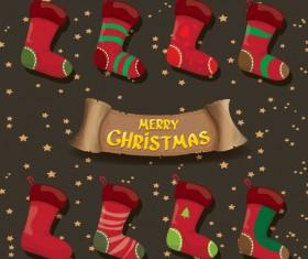 Cartoon christmas socks with retro xmas banner vector 12