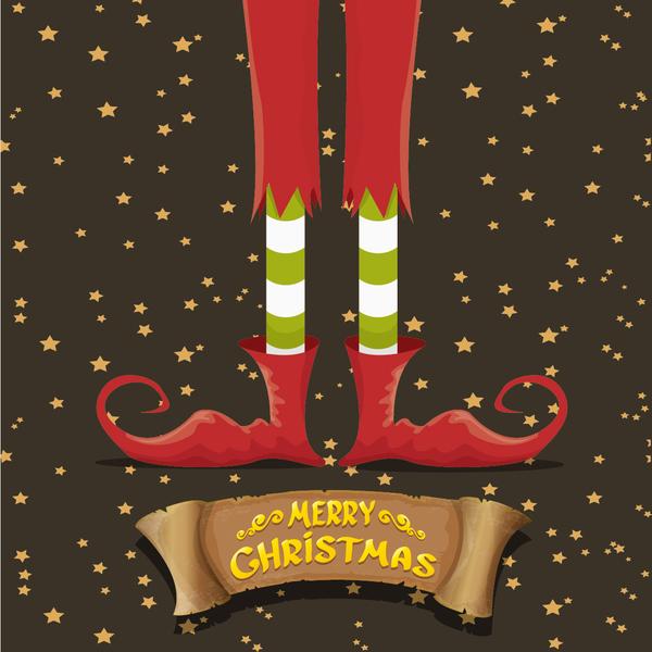 Cartoon elfs legs with retro christmas banner vector 02