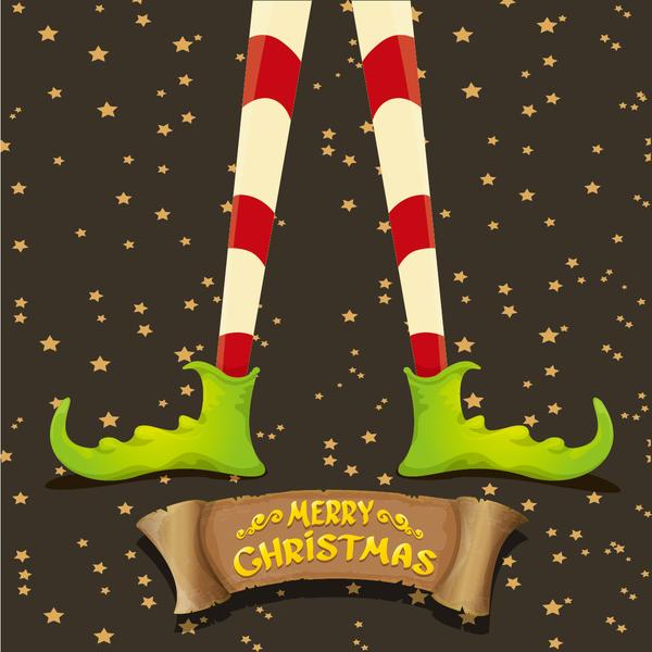 Cartoon elfs legs with retro christmas banner vector 03