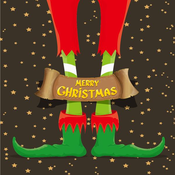 Cartoon elfs legs with retro christmas banner vector 07