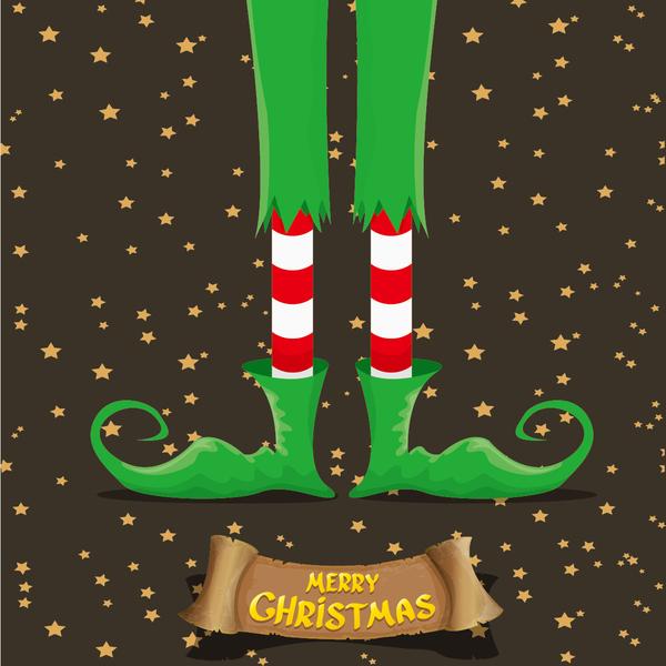 Cartoon elfs legs with retro christmas banner vector 08