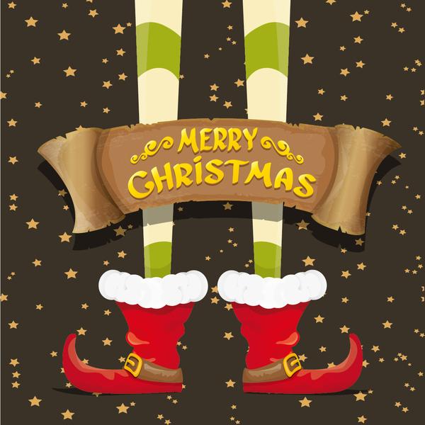 Cartoon elfs legs with retro christmas banner vector 12