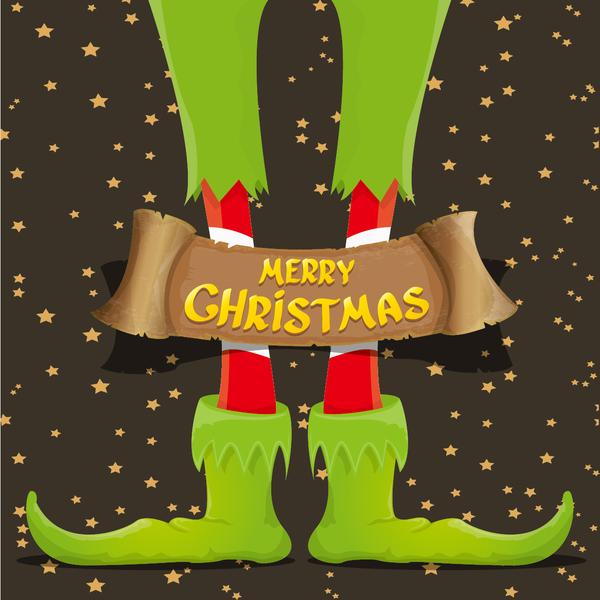 Cartoon elfs legs with retro christmas banner vector 14