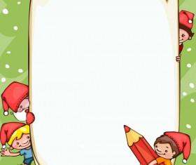 Cartoon school children with blank paper vector 01
