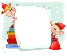 Cartoon school children with blank paper vector 02