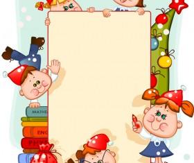 Cartoon school children with blank paper vector 03