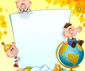 Cartoon school children with blank paper vector 04