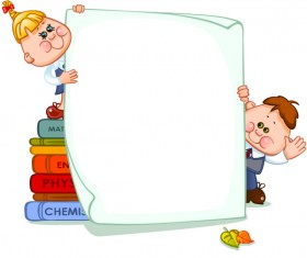 Cartoon school children with blank paper vector 05