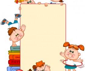 Cartoon school children with blank paper vector 07