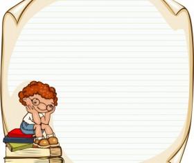 Cartoon school children with blank paper vector 08
