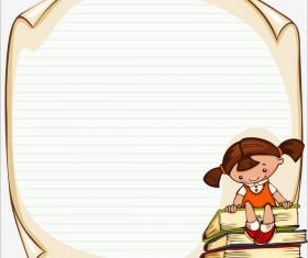 Cartoon school children with blank paper vector 09