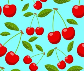 Cherries and leaves vector seamless pattern 01