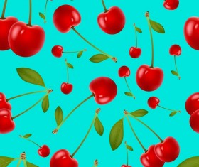 Cherries and leaves vector seamless pattern 02