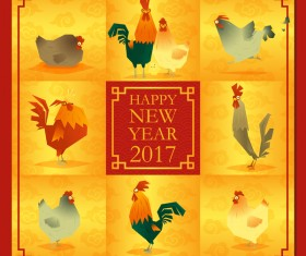 Chicken with 2017 new year background vector