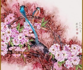 Chinese classical style of flowers and birds Stock Photo