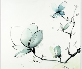 Chinese feng shui ink painting magnolia