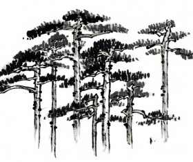 Chinese hand – painted ink pine trees HD picture