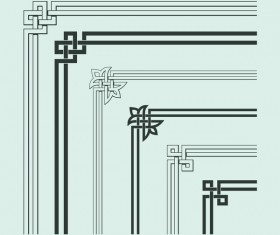 Chinese traditional style angle decor vector material 14