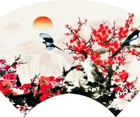 Chinese wind plum blossom bird painting Stock Photo