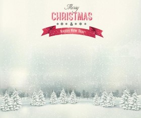 Chistmas holiday background with winter landscape vector