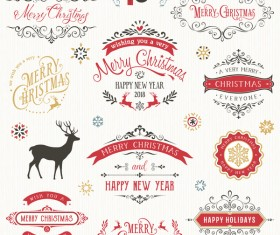 Christmas Typographic Design Set Vector