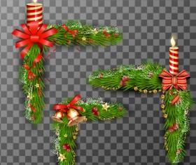 Christmas angle decor with candle vector illustration