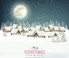 Christmas background with winter landscare and village vector