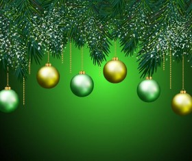 Christmas ball with pine branches and green background vector