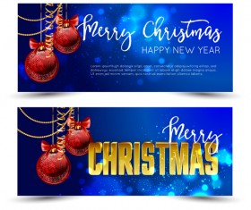 Christmas banners blue styles vector material
