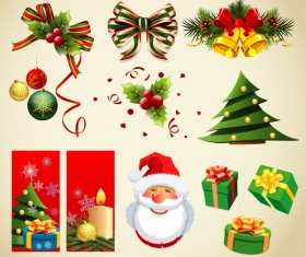 Christmas banners with gift box and decor mix vector