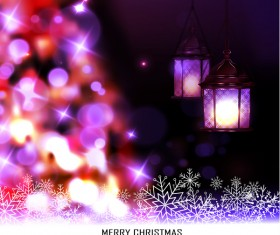 Christmas blur background with lantern vector 01