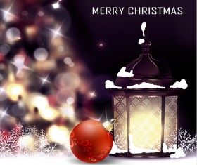 Christmas blur background with lantern vector 02