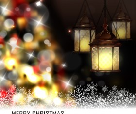 Christmas blur background with lantern vector 03