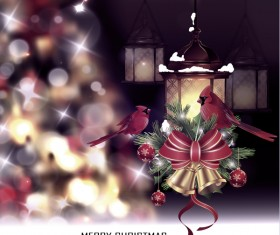 Christmas blur background with lantern vector 04