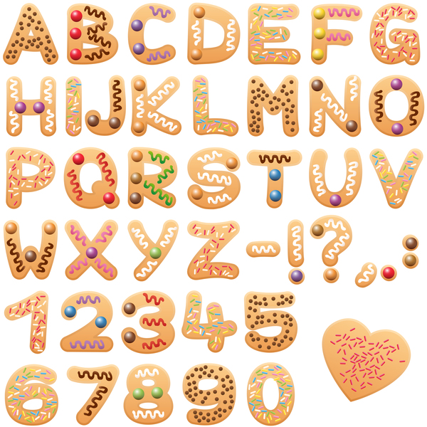 Christmas Cookies Alphabet Letters Font Vector Free Download