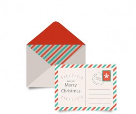 Christmas envelope with postcard vintage style vector 01
