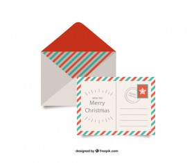 Christmas envelope with postcard vintage style vector 02