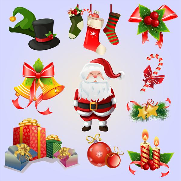 Christmas gift box and decor icons set