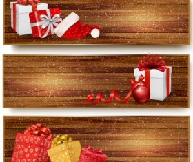 Christmas gift box with wooden banners vector