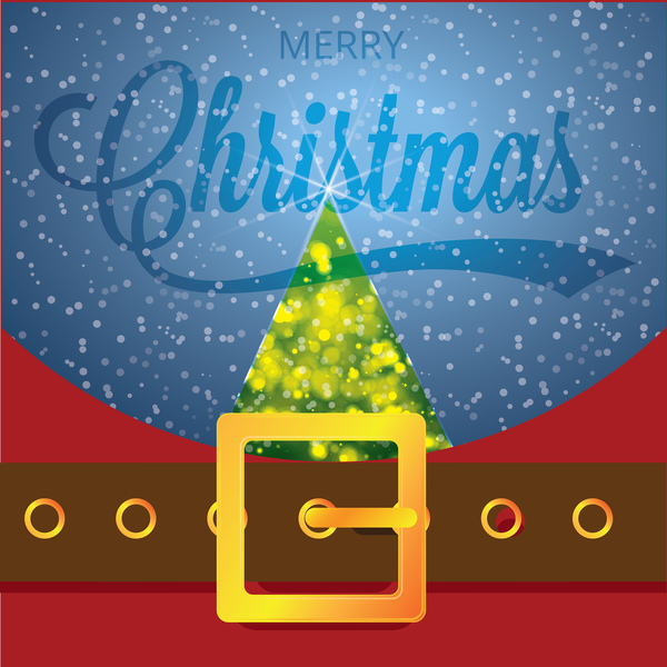 Christmas greeting card with belt buckle vector 01