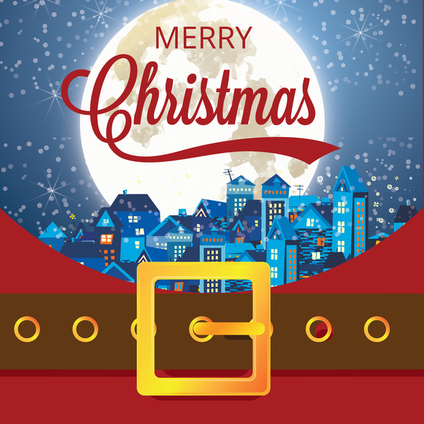 Christmas greeting card with belt buckle vector 02