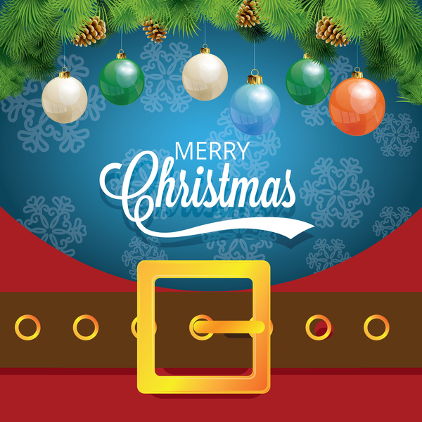 Christmas greeting card with belt buckle vector 06