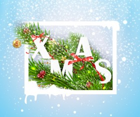 Christmas greeting card with white frame vector material 02