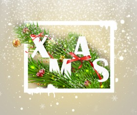 Christmas greeting card with white frame vector material 04