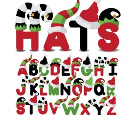 Christmas hats with font vector