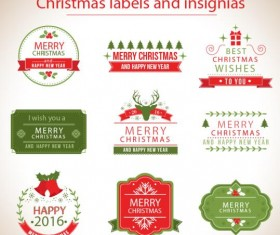 Christmas labels with insignias retro vector
